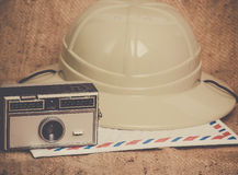 Podróży ikon kamery airmail safari kopertowy kapelusz Fotografia Stock