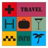 Podróży ikony na koloru tle wektor kolorowy ilustracji