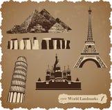 Podróży ikony set, sepiowe wektorowe sylwetki Ilustracja Wektor
