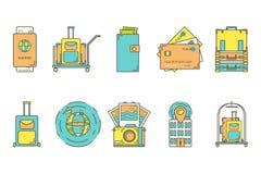 Podróży Kreskowe ikony Zdjęcia Stock