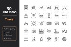 30 podróży Kreskowych ikon Obraz Stock