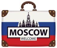 Podróży walizka z rosjanina Kremlin i flaga Fotografia Stock