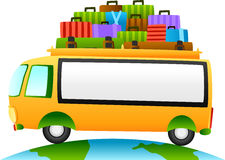 Podróż autobus z znakiem Obrazy Royalty Free