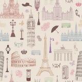 Podróż bezszwowy wzór Wakacje w Europa tapecie samochodowej miasta pojęcia Dublin mapy mała podróż Fotografia Stock