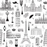 Podróż bezszwowy wzór Wakacje w Europa tapecie tła torby paszport target1768_0_ biel Fotografia Stock
