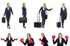 Podróż wakacje pojęcie z bagażem na bielu Zdjęcie Stock