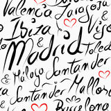 Podróży Hiszpania miejsca przeznaczenia miast bezszwowy wzór Obrazy Royalty Free