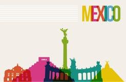 Podróży México miejsca przeznaczenia punktów zwrotnych linii horyzontu tło Obraz Stock