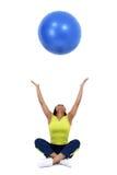 podrzucanie balowa błękitny kobieta Zdjęcie Stock