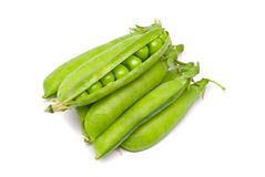 Pods of fresh green peas Stock Images