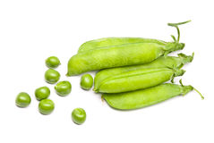 Pods of fresh green peas Stock Photos