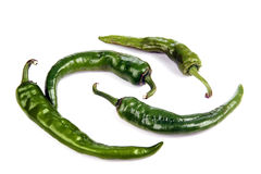 Pods of green hot peppers. Royalty Free Stock Photo