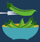 Pods of green peas. Blue plate concept vector illustration