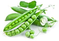 Pods of green peas with leaves Stock Photos