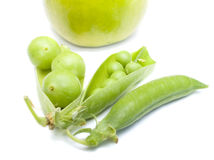 Pods of a green peas, plum and Stock Photo