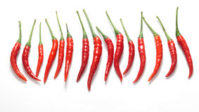 Pods of hot red pepper,chilli  on a white background Stock Image