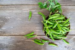 Pods raw green peas royalty free stock photography