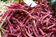 Pods of red beans on the counter farm market Stock Photos