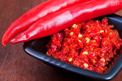 Pods of red hot pepper and spicy sause Royalty Free Stock Photography