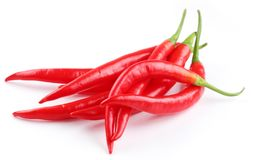 Pods spicy red chilli peppers Royalty Free Stock Images