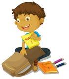 Podsadzkowy chłopiec schoolbag Obrazy Royalty Free