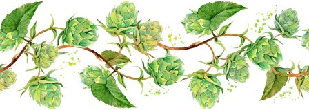 Podskakuje gałąź z zielonych liści bezszwowym wzorem ilustracja wektor