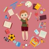 Podstawowa lub szkoła średnia dziewczyna z dostawami Zdjęcia Royalty Free