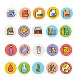 Podstawowe Barwione Wektorowe ikony 9 Obrazy Royalty Free