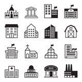 Podstawowe budynek ikony Ustawiać Fotografia Royalty Free