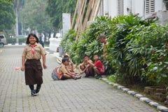 Podstawowe chłopiec i dziewczyna harcerz Dżakarta obraz stock