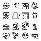 Podstawowe ikony ustawiająca film ikony wektoru Kreskowa ilustracja Zdjęcia Royalty Free