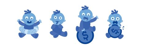 Set of little blue toddlers on white. Baby and Money. Parents and their Child with Financial Problems, Broked. Vector illustration. Set of little blue toddlers stock illustration