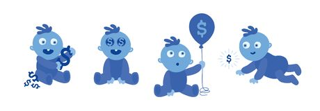 Set of little blue toddlers on white. Baby and Money. Wealthy Child. Dollars on eyes and on the balloon. Vector Illustration. Set of little blue toddlers on stock illustration
