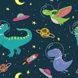 Hand drawn seamless pattern with cute dinosaurs in space