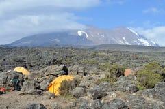 podstawowego obozu kilimanjaro góra Zdjęcia Royalty Free