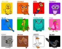 Podstawowej kolor kreskówki edukacyjny set z ptakami Ilustracja Wektor