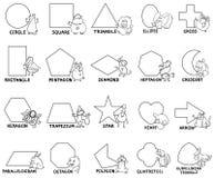 Podstawowi geometryczni kształty z zwierzęcymi charakterami Obraz Stock