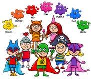Podstawowych kolorów edukacyjna deska dla dzieciaków ilustracja wektor