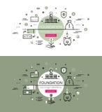 podstawy Mieszkanie linii koloru bohatera wizerunki i bohaterów sztandarów projekt royalty ilustracja