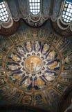 Podsufitowa mozaika baptysterium w Ravenna Zdjęcia Royalty Free