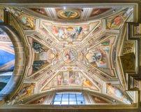 Podsufitowy fresk G B Ricci w kaplicie święty Monica, kościół Sant ` Agostino w Rzym, Włochy Obrazy Stock