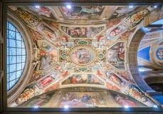 Podsufitowy fresk G B Ricci w kaplicie Nicholas Tolentino w kościół Sant ` Agostino w Rzym, Włochy Zdjęcie Royalty Free
