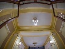 Podsufitowy projekta wnętrze w Metropol hotelu w Moskwa, Rosja Zdjęcie Royalty Free