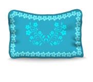 Poduszka dekoruje błękitnego kwiatu na błękitnym tle ilustracja wektor