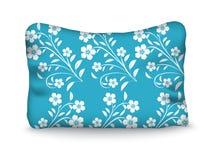 Poduszka dekoruje białych kwiaty na błękitnym tle Editable vect royalty ilustracja