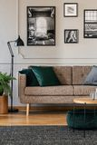 Poduszki na brąz kanapie w modnym żywym izbowym wnętrzu z czarny i biały plakatami na ścianie obrazy royalty free