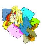 poduszki być prześladowanym dziewczyny Zdjęcia Stock