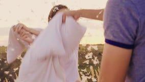 Poduszki walka Młodzi ludzie szalenie mają zabawę Kobieta bije jej poduszkę z przyjacielem, piórka lata zbiory wideo
