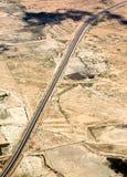 Podwójna kareciana autostrada na desenrt w Maroko, Afryka, widok z lotu ptaka Fotografia Royalty Free