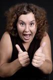 podwójna pokazuje kciuki w górę kobieta Obraz Stock